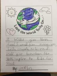 """""""I would give them food. I would give them money, clothes, beds, crayons, medicine. I would give hair, clean the earth, supplies to kids for school."""""""